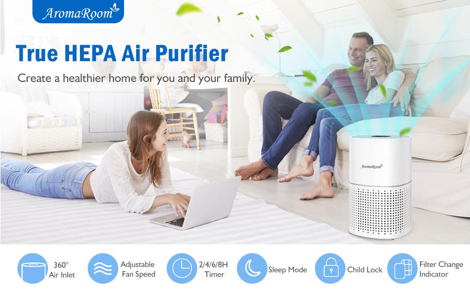True HEPA Air Purifier for Home Bedroom Office