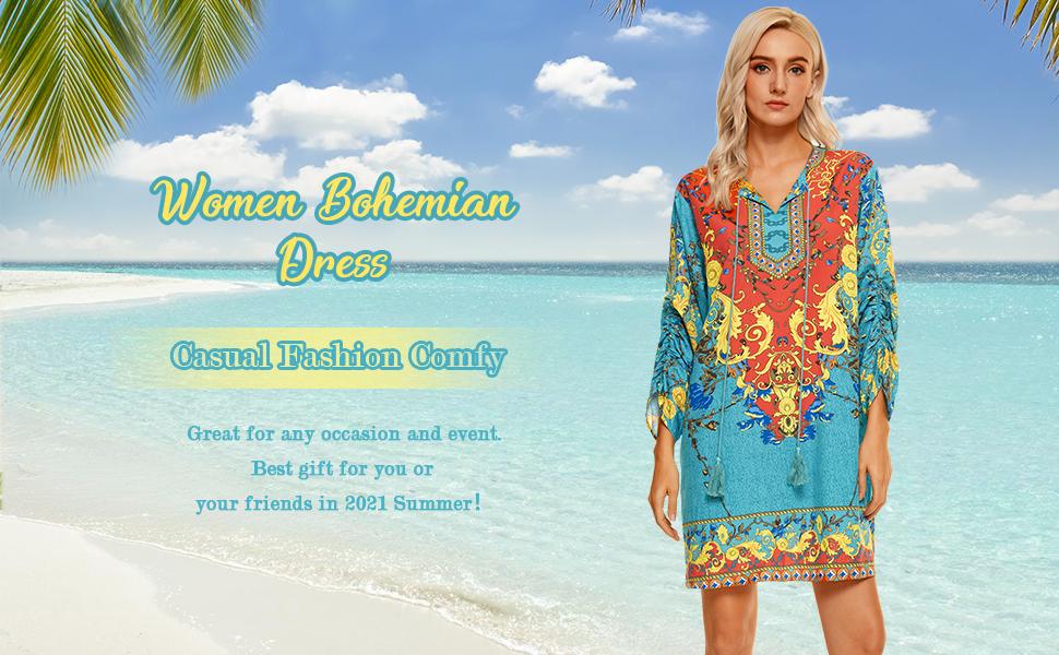 Women bohemian dress plus size summer dress for women casual summer beach dress for women