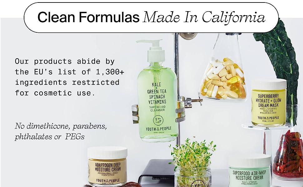 bez parabena, ptalata ili PEGS-a, proizvodi za njegu čiste kože proizvedeni u Kaliforniji, SAD