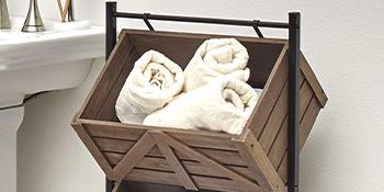 Triple Basket Storage Rack Rustic Shelving Unit with Farmhouse Look - Wood