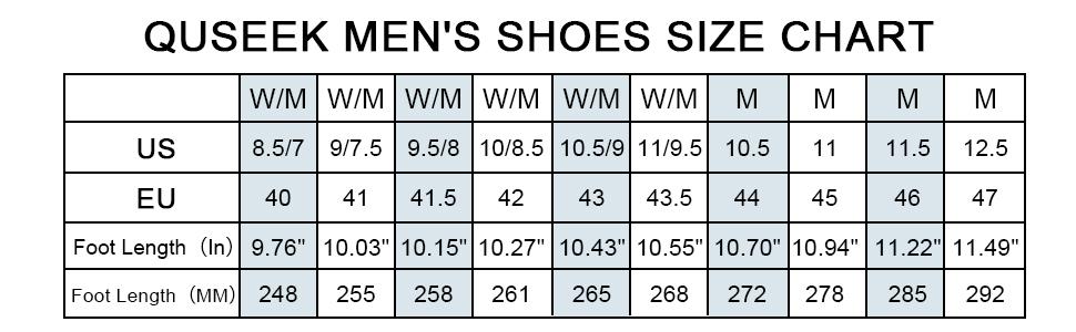 men air running tennis walking shoes size chart