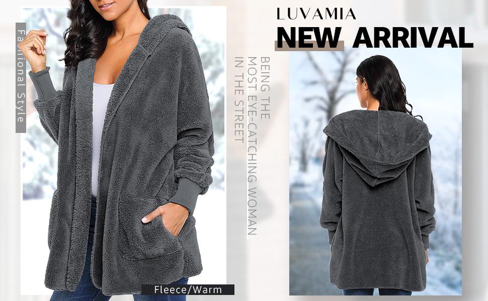Women Fuzzy Fleece Open Front Hooded Cardigan Oversized with Pockets