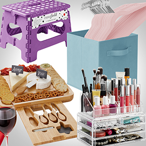 purple step stool, blue storage cube, bamboo cheese board, pink hangers, clear makeup organizer