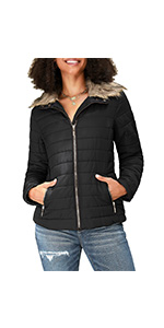luvamia Womenamp;#39;s Faux Fur Lapel Zip Quilted Puffer Jackets Parka Warm Winter Coats Outwear