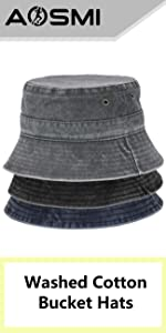 3 Pack Bucket Hats Washed Cotton Cap