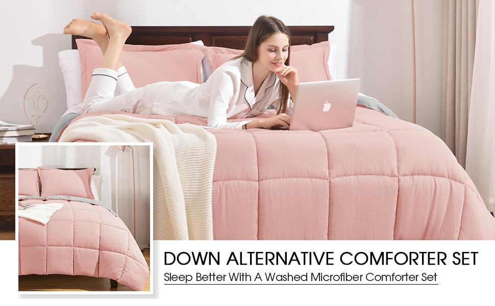 Washed Microfiber Down Alternative Comforter Set