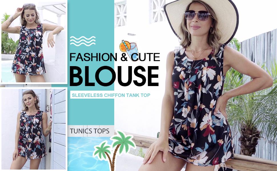 women sleeveless chiffon tunics tops double layers blouses tank timeson women tops foe casual