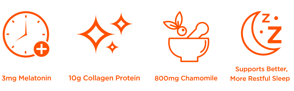 melatonin, collagen protein peptides, chamomile, drug free sleep support, wake up refreshed