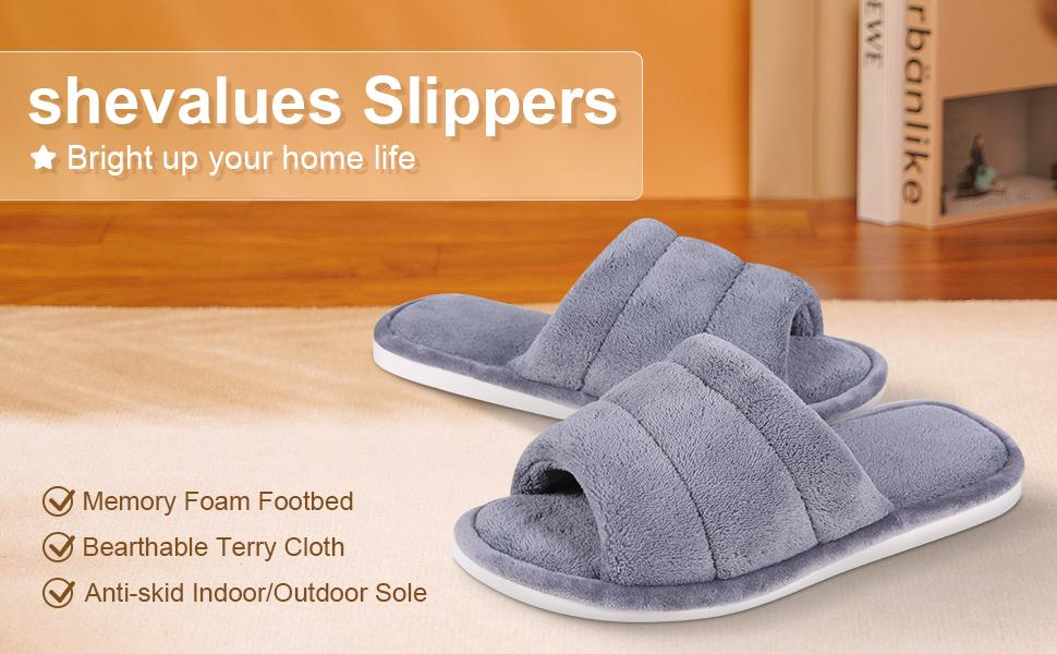 shevalues Terry Cloth Open Toe Slippers
