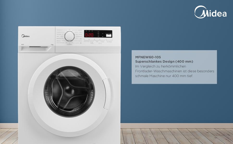 Erinnerung/Startzeitvorwahl Midea Waschmaschine MFNEW60-105 1000 U ...