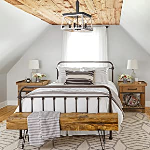 rustic farmhouse chandelier for bedroom, briarwood collection lighting fixture