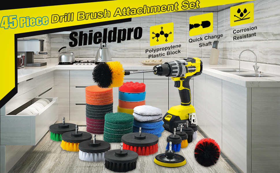 Drill Brush Cleaning Attachment Set
