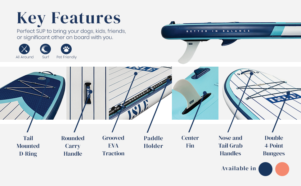 ISLE Surf & SUP Key features perfect SUP to bring dogs kids friends on your board with you