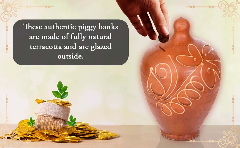 Fully Natural Authentic Piggy Banks Money Box for Coins and Banknotes