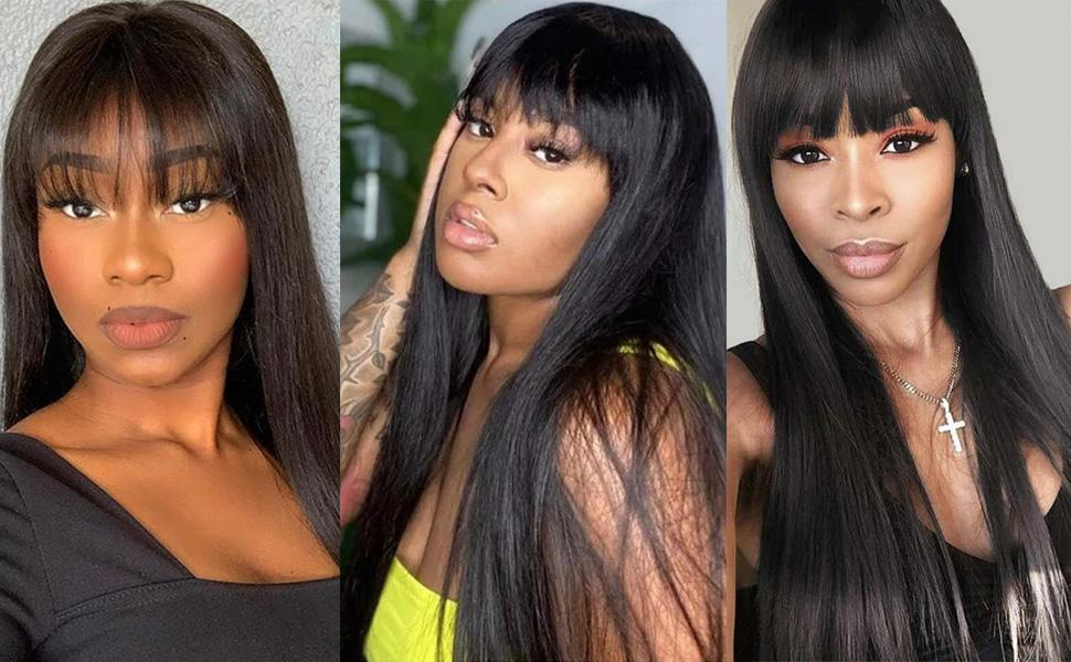 straight wigs with bangs