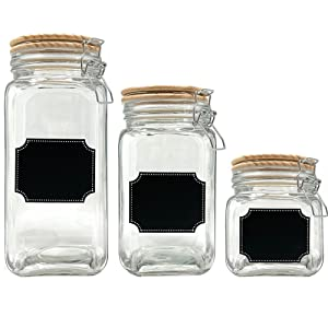 Glass canister set of 3 jars with wood lid chalkboard label airtight food container storage kitchen