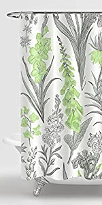 Green and Gray Floral Shower Curtain