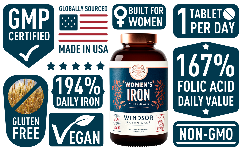 Windsor Botanicals - Women's Iron with Folic Acid Menstruation and Pregnancy Support - Features