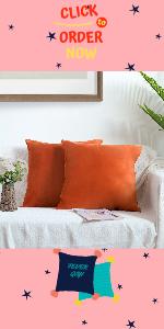 orange velvet pillow covers 18x18