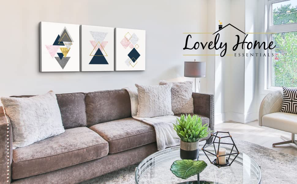 pink gold abstract art for living room decor grey navy