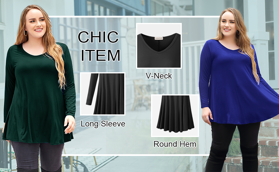 8056 Swing V Neck Tunic Shirts Plus Size Clothes For Women Loose Blouses
