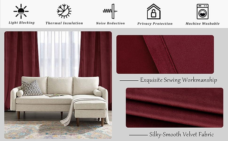 burgundy velvet curtains