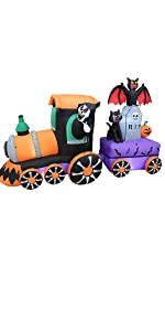 8 Foot Long Lighted Halloween Inflatable Grim Reaper Ride Train with Tombstone Cat Bat