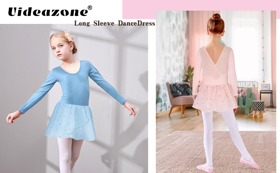 Girls Ballet Dance Dress Kids Long Sleeve Leotards with Glitter Tutu Skirt 3-9T