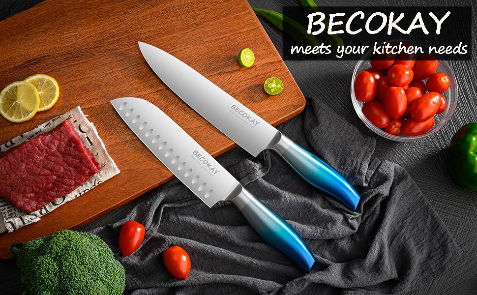 BECOKAY Kitchen Chef Knife Set- 2 Piece Ultra Sharp