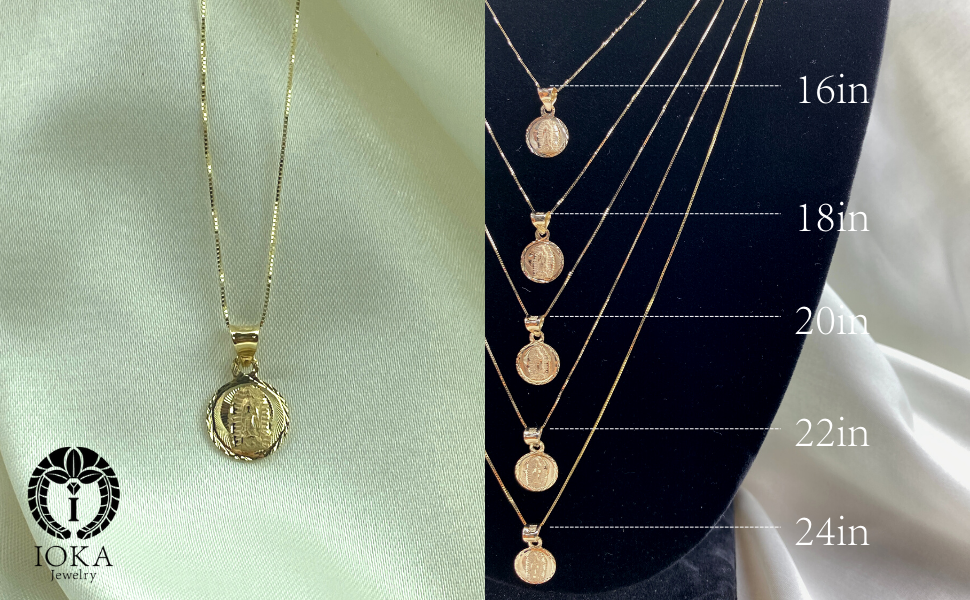 gold miraculous medal Religious catholic christian gold chain layering coin necklace for Women men