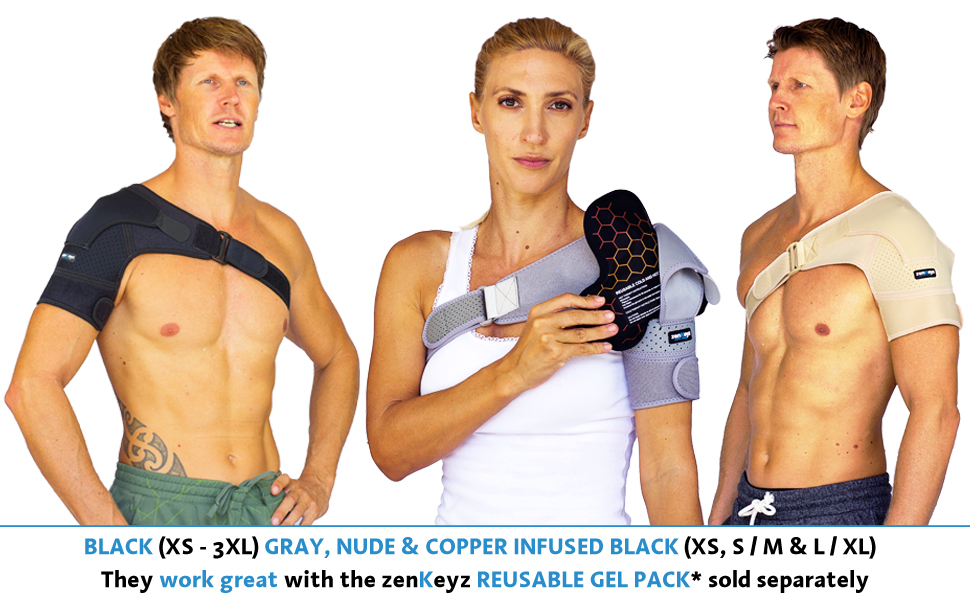 shoulder brace with reusable gel pack for ice cold heat therapy