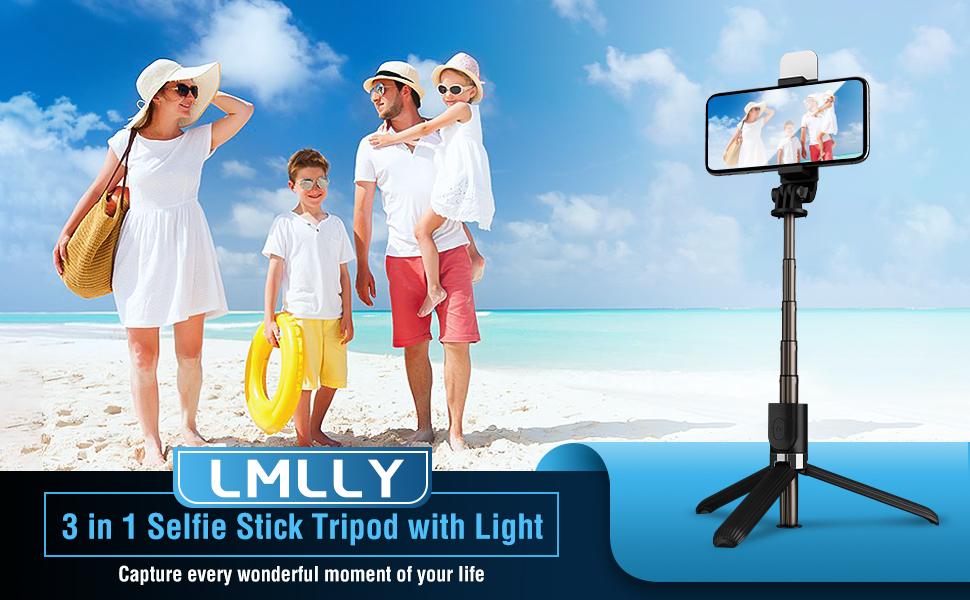 Lmlly - 3-1 Selfie Stick Tripod with Light