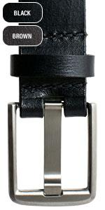 Titanium buckle Wide Pin belt available in black or brown