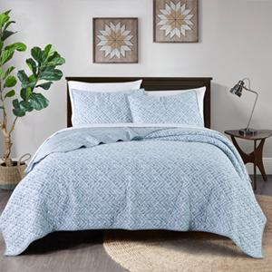 Blue Watercolor Geometric  3-Piece quilt Set-1