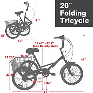 """20"""" Folding Tricycle Size:"""