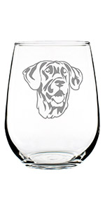 Design of a happy Great Dane face engraved onto a stemless wine glass.