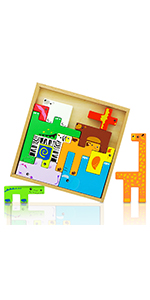 Wooden Puzzle Toys 3D Animal Set for Kids Colorful Learning Educational Blocks Stack Shapes