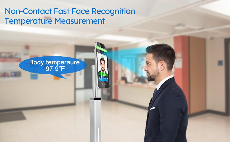 Wi-Fi Non-Contact Face Recognition  Automatic Infrared Body Temperature Thermal Scanner Kiosk