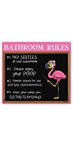 Flamingo Bathroom Sign
