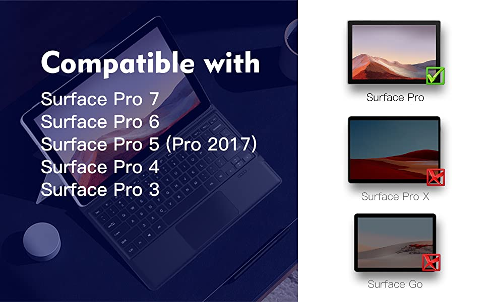 Uogic Keybaord compatible with Surface pro 7/6/5/4/3