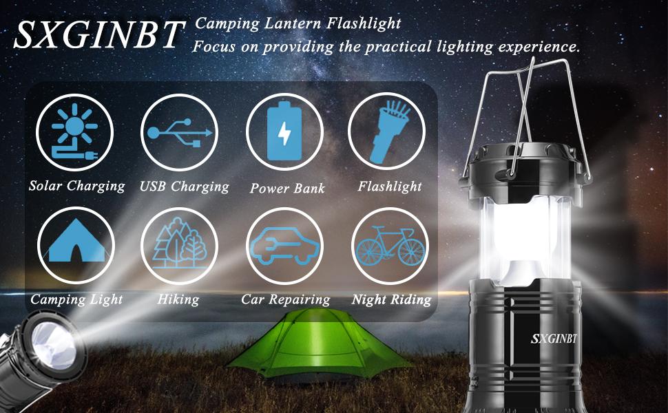 camping lantern flashlight solar rechargeable