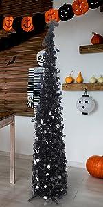 Joy-Leo 5 Feet Pop Up White Halloween Christmas Tree with Black Sequins