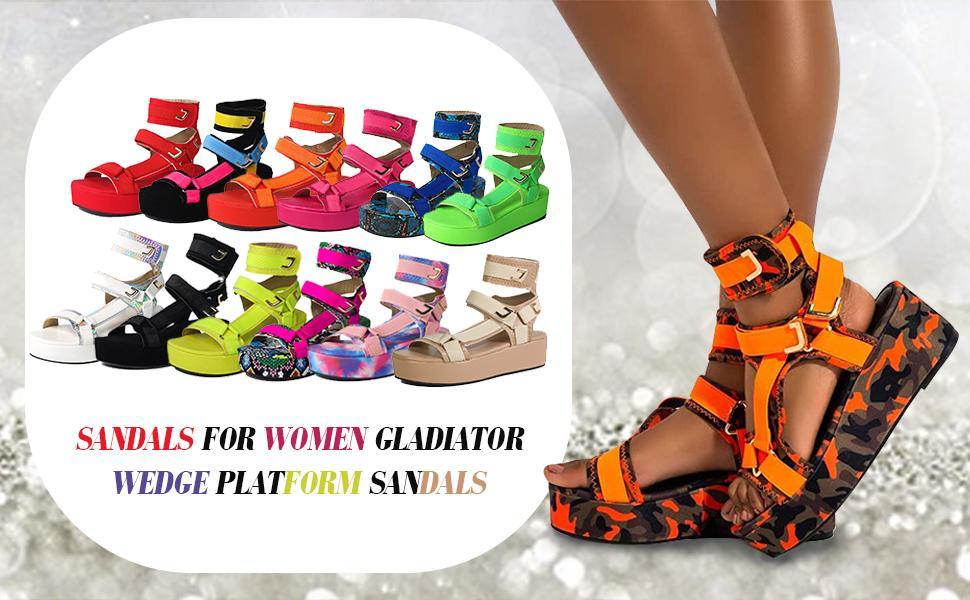 Fashion platform sandals for women open toe summer flat hook and loop sandals
