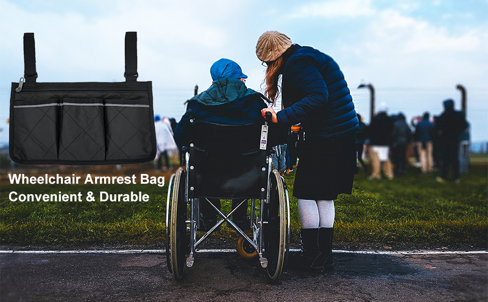 Wheelchair armrest bag