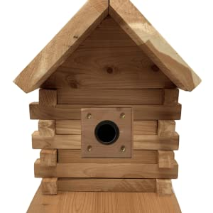 Wakefield Log Cabin Birdhouse with predator guard for protecting young nestlings