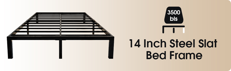 45MinST 14 Inch 3500lbs Heavy Duty Bed Frame Sturdy Steel Slats/Easy Assembly
