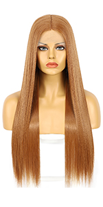 #27 Strawberry Blonde straight synthetic lace front wigs for women