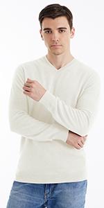 100% Merino Wool White V-Neck Sweaters
