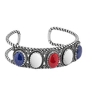 sterling silver red white blue gemstone cuff bracelet