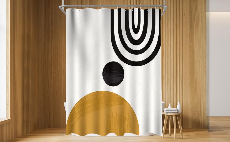 Mid Century Abstract Sun Rainbow Shower Curtain